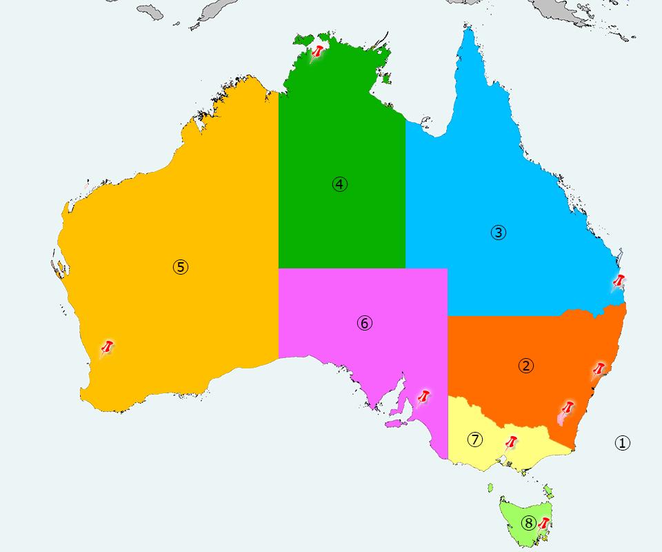 オーストラリアの地域別の時差
