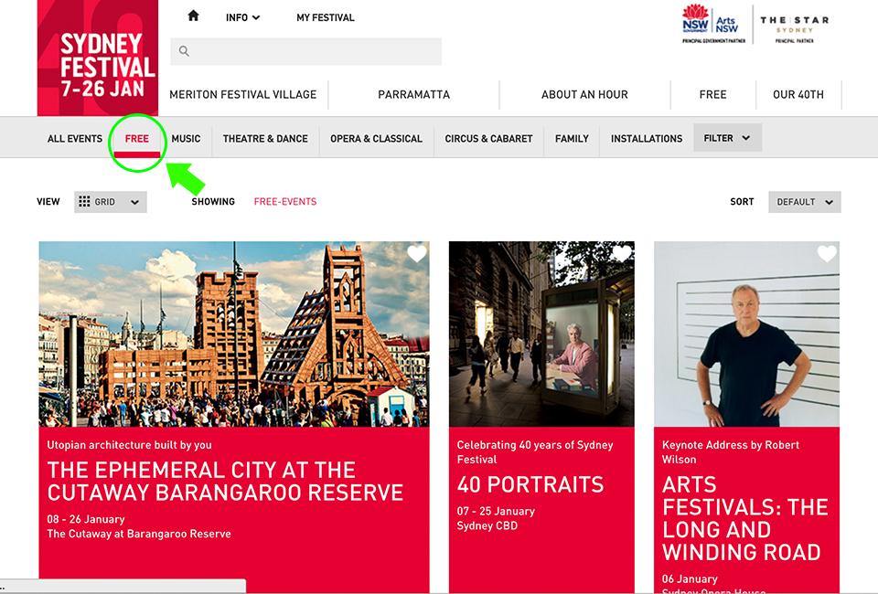 シドニーフェルティバルの公式サイト
