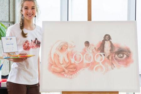 Google Australia のタイトルの絵に高校生の女の子の絵が選ばれる!