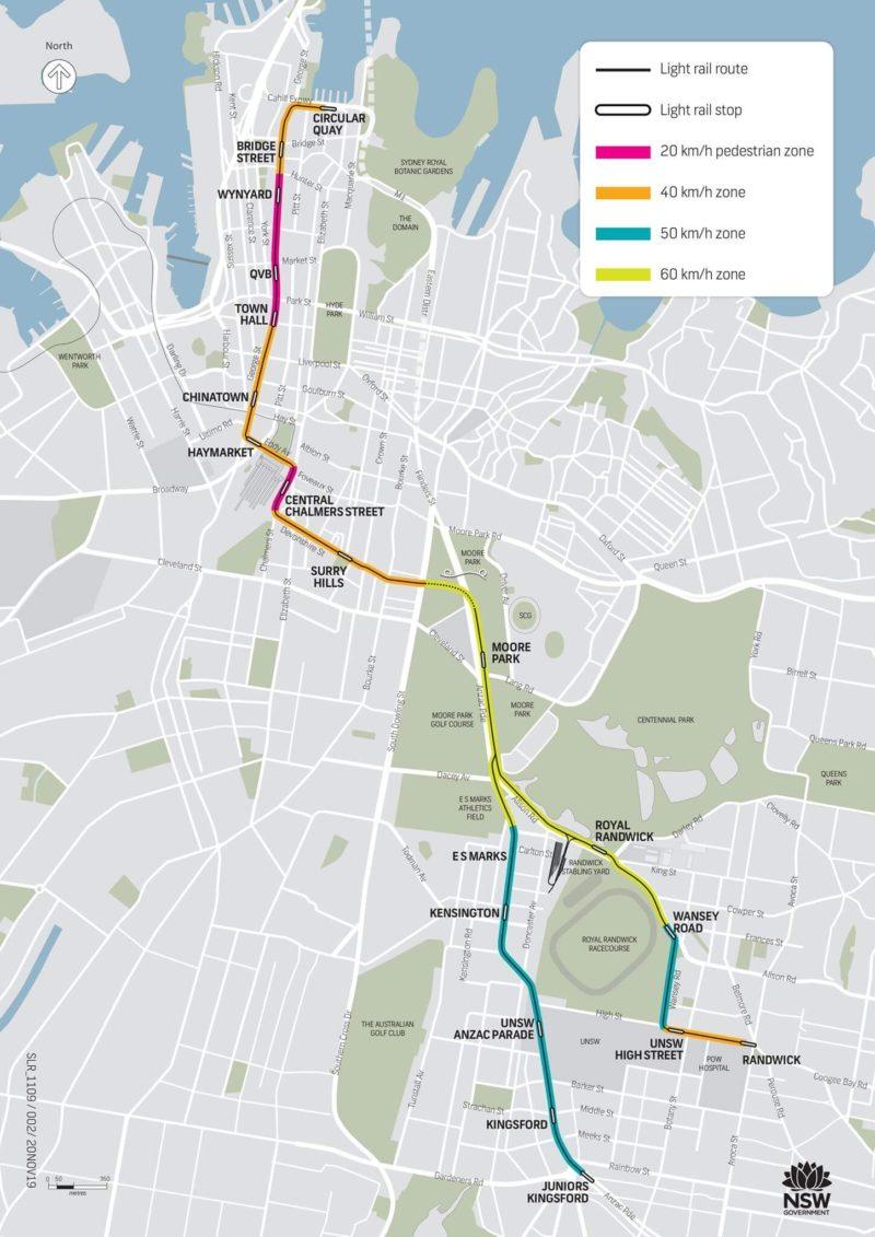 シドニーの路面電車のマップ